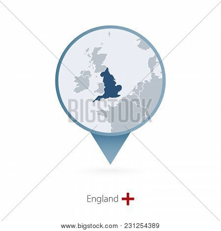 Map Pin With Detailed Map Of England And Neighboring Countries.