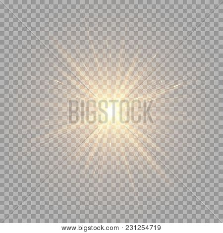 Bright Golden Rays On A Transparent Background. Brilliant Light Effect For Festive Decoration
