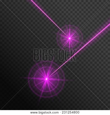 Magic Laser Beams Of Pink Color On A Transparent Background. Vector Illustration With Neon Light Eff