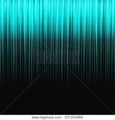 Bright Background With Turquoise Northern Lights On A Black Backdrop