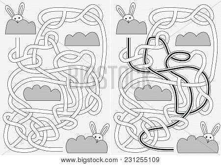 Bunny Maze For Kids With A Solution In Black And White