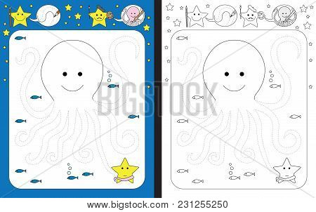 Preschool Worksheet For Practicing Fine Motor Skills - Tracing Dashed Lines Of Octopus Arms
