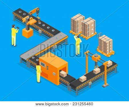 Automated Factory Conveyor, Production 3d Isometric View On A Blue Background With Process Line And