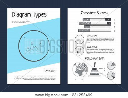 Diagram Types And World Map Data, Set Of Posters With Diagrams And Graphics, Percentage And Sample T