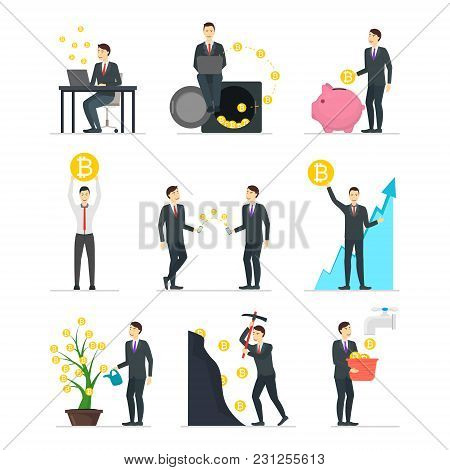Cartoon Blockchain Concept Set With People Cryptocurrency Concept Element Flat Design Style. Vector