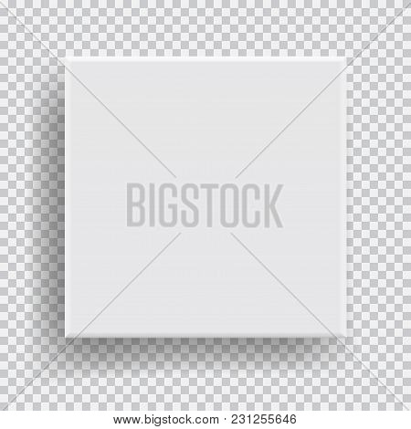 Box Top View With Shadow, Mock Up Model 3d. Realistic White Blank Package. Cardboard Paper Matchbook