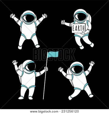 Cute Funny Cosmonaut Astronaut Spaceman Characters Exploring Outer Space Cartoon. Flat Line Design.