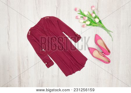 Fashion Concept. Burgundy Blouse, Pink Shoes And Tulips. Top View