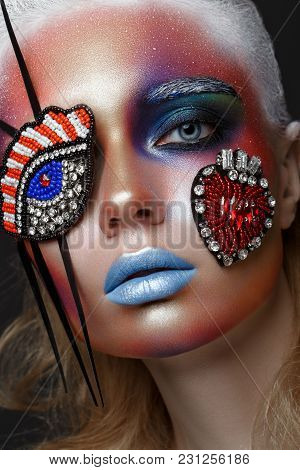 Beautiful Girl With Creative Make-up In Pop Art Style. Beauty Face. Photo Taken In Studio