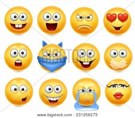 Smileys Vector Set. Smiley Faces With Facial Expressions. Happy, Evil And Confused.