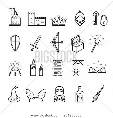 Fantasy Related Signs Black Thin Line Icon Set Include Of Sword, Crown, Hat, Wing, Treasure And Poti