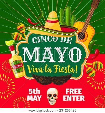 Cinco De Mayo Mexican Party Invitation Card For Mexico Traditional Holiday Fiesta. Vector Flyer Of M