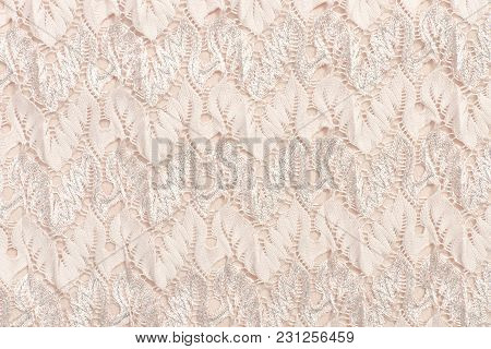Biege Cloth With Embossed Pattern, Close-up. Texture
