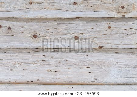 Wide Gray Horizontal Untreated Boards. Texture Background