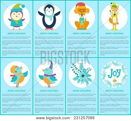 Merry Christmas, Set With Text Sample Below Headlines And Icons Of Penguin And Bird, Dog And Fox, An