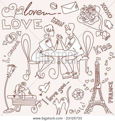 Liebe in Paris Kritzeleien