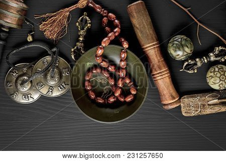 Copper Singing Bowl, Prayer Beads, Prayer Drum, Stone Balls And Other Tibetan Religious Objects For