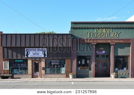 CODY, WYOMING - JUNE 24, 2017: Rockstar Cowgirl and Indian Territory are two shops on Sheridan Avenue in Cody, Wyoming.