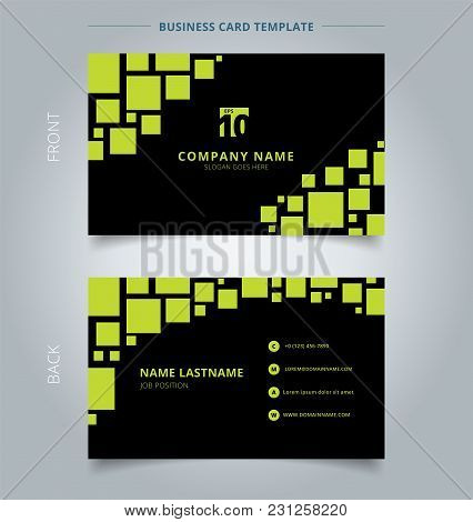 Creative Business Card And Name Card Template Geometric Green Reflect Square Pattern On Black Backgr