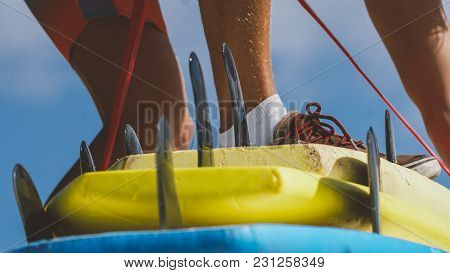 Surf Equipment In The Shop. Surfing As A Sport Discipline All Over The World