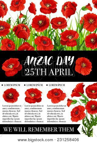 Anzac Day Memorial Banner With Red Poppy Field And Black Ribbon. Australian And New Zealand Army Cor