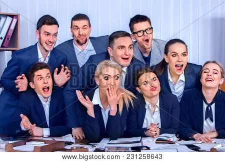 Mad business people office in high school celebrate successful passing exams. Team student college rejoice project. Peoples fooled to give bunny fingers prank. They make faces with joy. Phthous memory