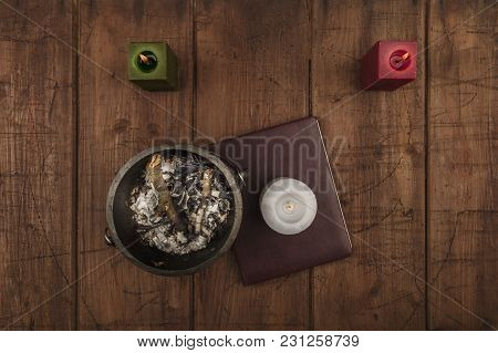 Overhead Photo Of Cauldron, Grimoire, Candles, And Copy Space
