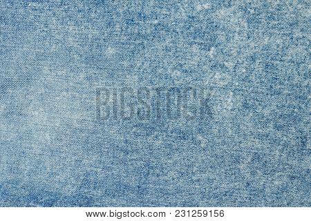 Blue Denim Cloth. Fabric Texture, Close Up