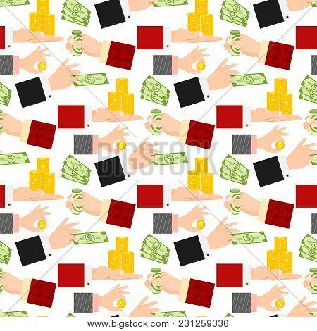 Businessman Human Hands Arm Holding Paper Money Stack Vector Illustration Finance Seamless Pattern B