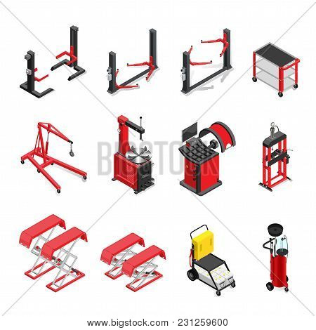 Autoservice Equipment Set, Lifts And Mechanisms For Work In A Body Shop. Isometric Style