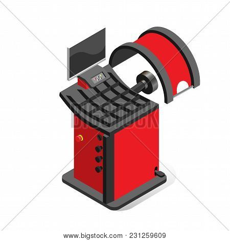 Equipment For Car Service, Balancing Machine On A White Background, Isometric Image