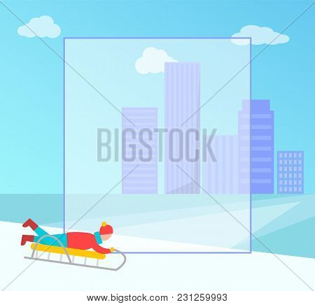 Winter Banner With Filling Form For You To Place Your Own Text, Child Going Downhill On Sledge Citys