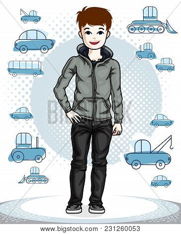 Cute Little Teenager Boy Standing Wearing Fashionable Casual Clothes. Vector Character. Fashion Them
