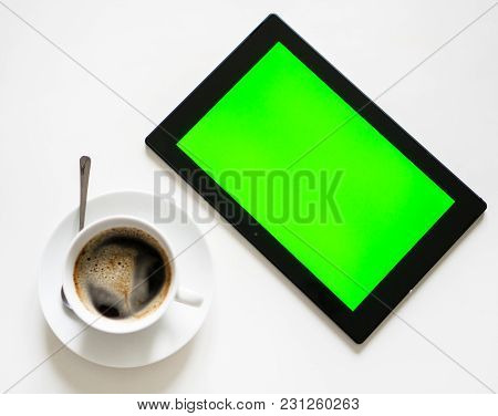 Black Tablet Pc With Green Screen. Chroma Key.