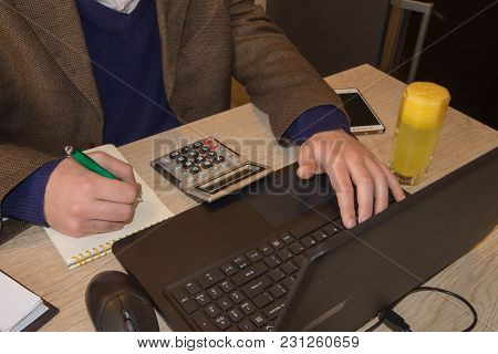 Business Male Analyzing Statistics Financial Concept. The Calculators, Business Owners, Accounting A