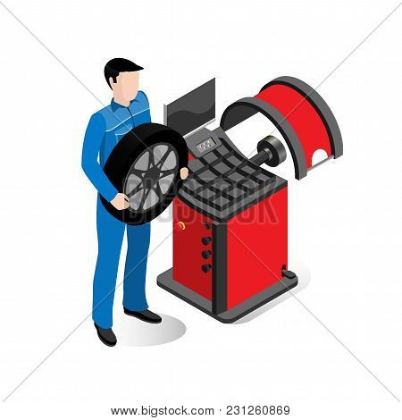 Wheel Repair Specialist, Equipment For Car Service, Balancing Machine On A White Background, Isometr