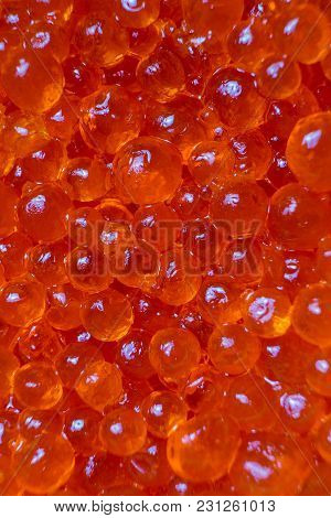 Caviar Red Parody Fish Close Up. Background Of Red Caviar...