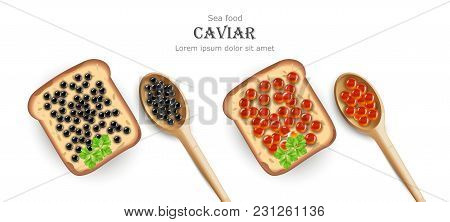 Caviar Vector Realistic. Red And Black Caviar Toasts. Top View 3d Detailed Illustration
