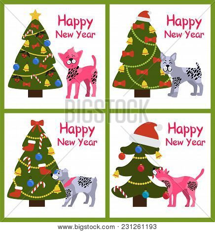 Happy New Year Posters Set With Abstract Christmas Trees And Cute Puppies With Spots Vector Illustra