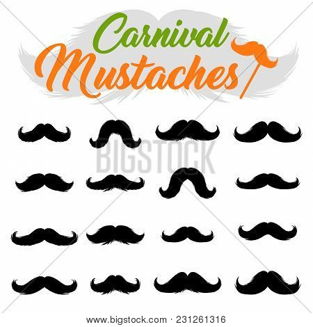 Moustaches Stickers Clipart Set. Black Silhouettes For Cinco De Mayo Paper Cutting Design. Different