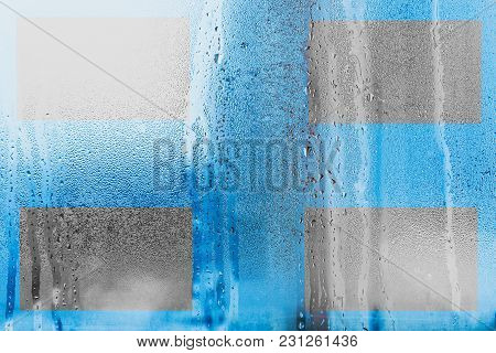 Background With Free Space For Your Design Or Text With Of Natural Water Condensation. Windows Glass