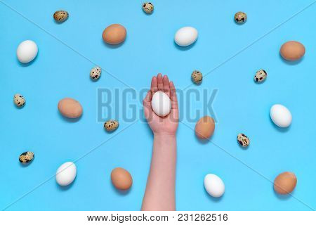 Woman Holding White Egg In Hand With Eggs On Blue Background, Copy Space. Healthy Food Concept. Top