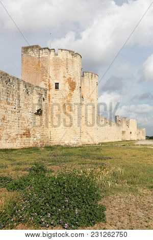 Historic Towers And Ramparts In The City Of Aigues-mortes, France