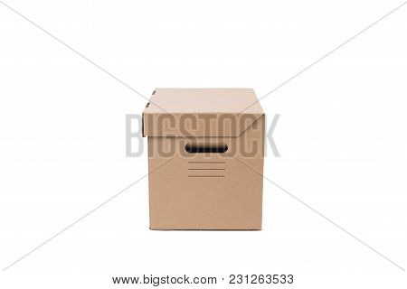 Brown Cardboard Paper Box Isolated On White Background.