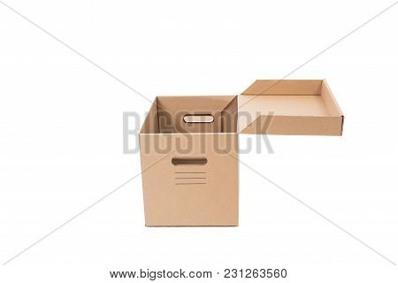 Open Brown Cardboard Paper Box Isolated On White Background.