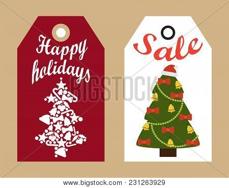 Happy Holidays Sale Decorative Tags With New Year Decorated And Abstract Christmas Trees Hanging Bad