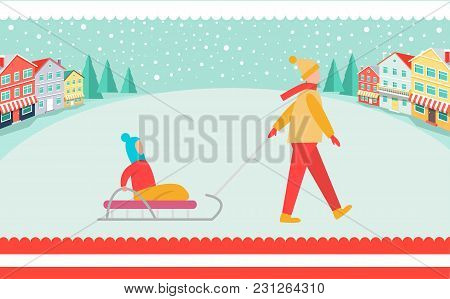 Parent Walks With Kid On Sledge Around Spacious Town Square Under Snow Cover With Store Buildings On