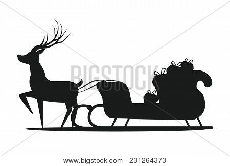 Santa Claus Sledge Silhouette Icon Isolated On White Background. Vector Illustration With Reindeer A