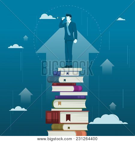 Reading Will Improve Businessman Business Skill Or Knowledge, Flat Vector