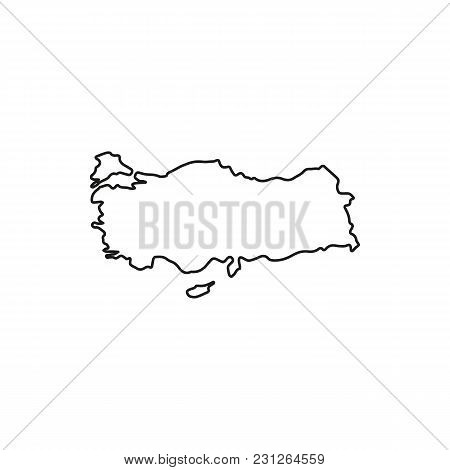 Turkey Map Icon. Outline Turkey Map Vector Icon For Web Design Isolated On White Background